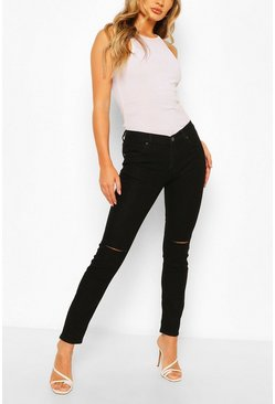 Black Low Rise Ripped Knee Skinny Jean
