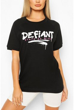 Black Defiant Oversized Sweat Top