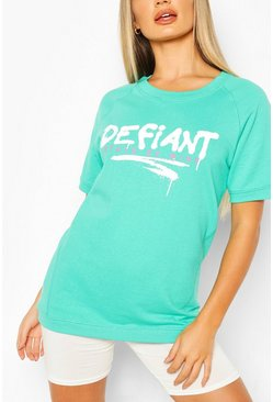 Green Defiant Oversized Sweat Top