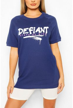 Navy Defiant Oversized Sweat Top