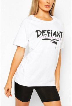 White Defiant Oversized Sweat Top