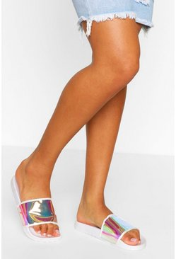 White Holographic Pool Sliders