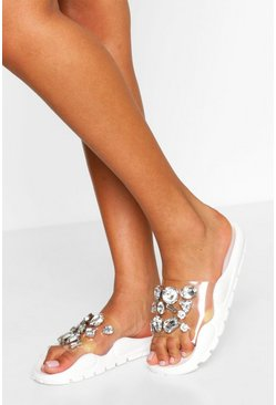 White Gem Embossed Pool Sliders