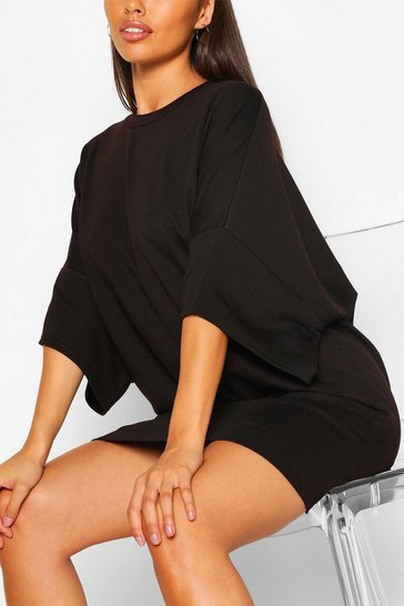 Black Soft Loopback Slouch Sweat Dress