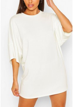 White Soft Loopback Slouch Sweat Dress