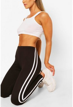 Black Double Side Stripe Supersoft Leggings