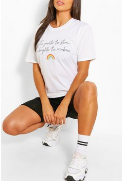 Rainbow Slogan T-Shirt, White