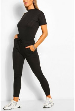 Bandage Boxy T-Shirt & Jogger Set , Black