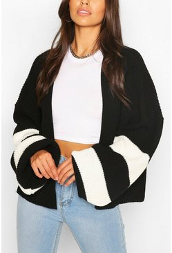 Black Stripe Balloon Sleeve Cardigan