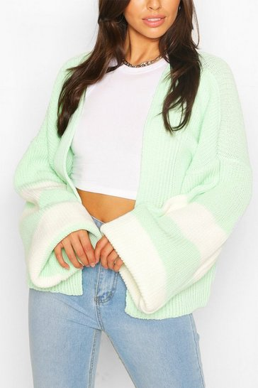 Mint Stripe Balloon Sleeve Cardigan