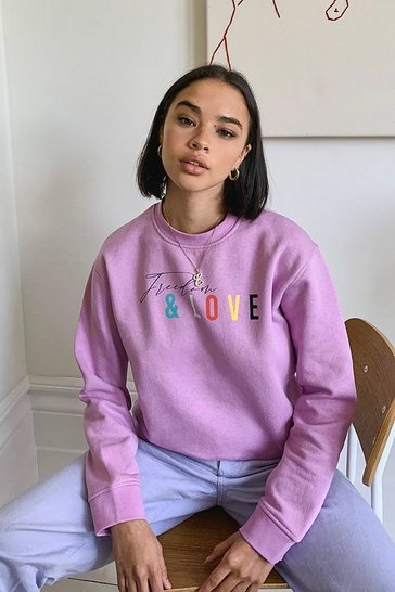 Lilac Freedom And Love Slogan Sweat