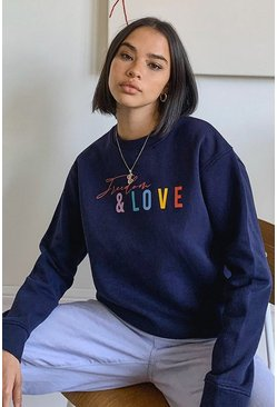"Sudadera con eslogan ""Freedom And Love"", Azul marino"