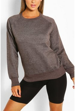 Charcoal Solid Colour Crew Neck Sweat