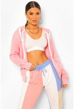 Baby pink Solid Colour Zip Through Hoodie