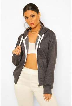 Charcoal Solid Colour Zip Through Hoodie