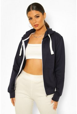 Navy Solid Colour Zip Through Hoodie