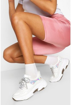 White Contrast Sole Chunky Sneakers