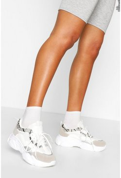 White Snake Panel Chunky Sole Trainers