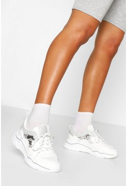 White Snake Print Chunky Sole Trainer