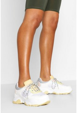 Lemon Pastel Colour Block Chunky Trainers