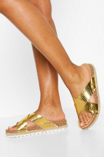 Gold Cross Strap Footbed Sliders