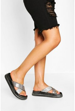 Black Embellished Cross Strap Footbed Slides