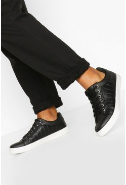 Black Croc Basic Flat Trainers