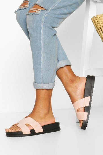 Nude Footbed Mule Slider