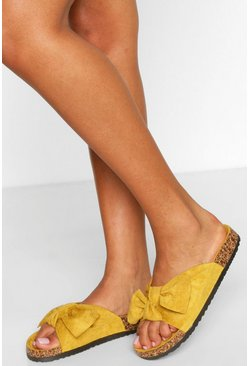 Mustard Bow Detail Footbed Slider