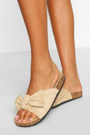 Blush Bow Detail Footbed Slider