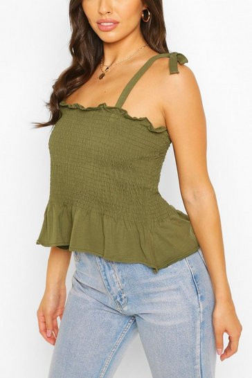 Khaki Shirred Tie Shoulder Top