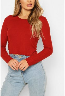 Red Ribbed Lettuce Hem Top