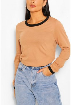 Camel Long Sleeve Contrast Ringer Top