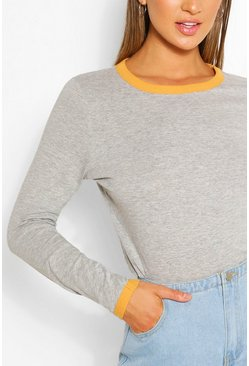 Grey marl Long Sleeve Contrast Ringer Top