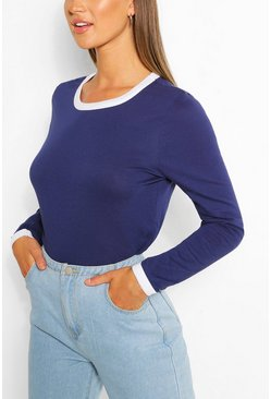 Navy Long Sleeve Contrast Ringer Top