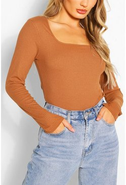 Camel Ribbed Square Neck Top