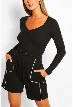 Black Ribbed Ruched Long Sleeve Top