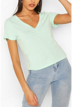 Peppermint Sweetheart Neck Ruched Detail Top