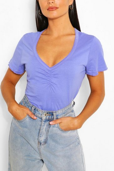 Purple Sweetheart Neck Ruched Detail Top