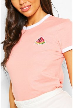 Ringer T-Shirt With Watermelon Patch, Peach