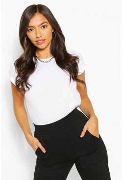 White Roll Up Sleeve Basic T-Shirt