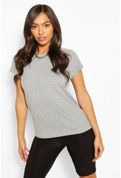 Grey marl Roll Up Sleeve Basic T-Shirt