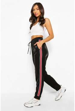 Velvet Contrast Side Stripe Jogger, Black