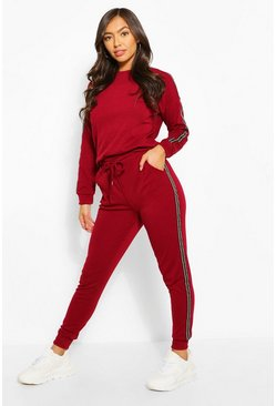 Side Stripe Jogger, Ruby