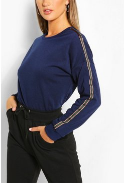 Indigo Side Stripe Sweater