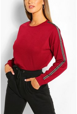 Wine Side Stripe Sweater