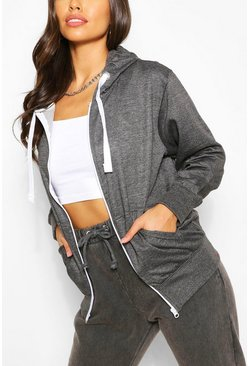 Charcoal Basic Loopback Zip Through Hoodie