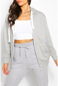 Grey Basic Loopback Zip Through Hoodie