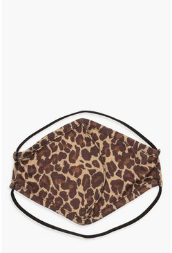 Brown Leopard Print Fashion Face Mask