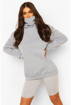 Hoodie With Snood, Grey